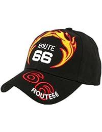 Casquette Biker Route 66 Noir et Rouge - Mixte