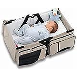 OurKosmos® 3 en 1 multifuncional plegable capazo cuna portátil mamá del viaje Bolsas - La bolsa de pañales - Viajes cuna -Portátil Estación cambiante--gris