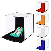 WJH 40cm Photo Softbox Portable Folding Studio Schieten Tent Box Kits met 5 kleuren Backdrops (rood, oranje, blauw, wit, zwart), Maat: 40cm x 40cm x 40cm (Color : Color2)