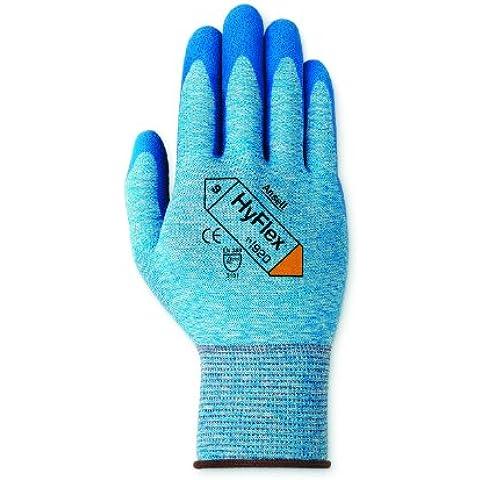 Ansell HyFlex 11-920-Guanti in Nylon, rivestimento in nitrile, colore: blu, Poignés lavorati (Confezione da 12 paia)