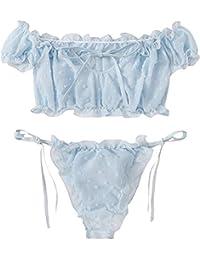 Z-NING Women's Self Tie Ruffle Trim Dobby Mesh Lingerie Set Sexy Bra and Panty,Blue,Small