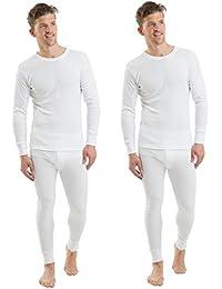 2COZEE® 2 Pack Mens/Gentlemens Thermal Underwear Set Long Sleeve Vest & Long Johns Interlock 8 X 1 Various Colours & Sizes