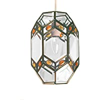 Loxton Lighting Clear Bevelled Glass Lantern with Amber Jewels, Clear/Amber