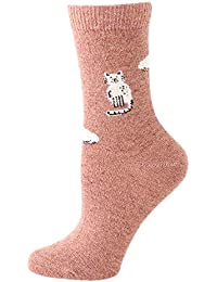 Rawdah_Calcetines Mujer Invierno Divertidos Termicos Algodon Mujeres Sólido Color Lindo Fuzzy Calcetines Cartoon Animal Calcetines Invierno