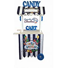 CARRITO DE CHUCHES Candy Cart Happy Birthday Azul.para Decorar.Medidas 132CMS(Alto