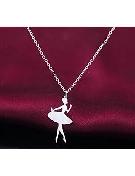 XX Silber Halskette Weiblichen Ballett Tänzer Clavicle Kette Niedlichen Kleinen Mädchen Anhänger , Silver,Silver
