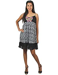 Old Khaki Printed Georgette Casual Women's Girls Sleeveless Dress Frock in Black and Grey Color with Contrast & Free Shipping