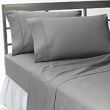 600TC 100% algodón egipcio de ropa de cama juego de 4piezas funda nórdica Sábana Bajera + 25cm profundo bolsillo todo el tamaño y color sólido por SGI cama Europa Collection, Lt. Grey, suelto