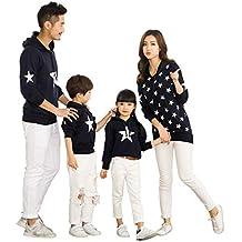 BESBOMIG Sudadera de Navidad Familia Jersey Sweatshirt Sudadera Capucha Pullover Top Manga Larga Sudaderas con Capucha