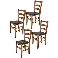 Tommychairs sillas de Design - Set 4 sillas Modelo Venice para Cocina, Comedor, Bar y Restaurante, con Estructura en Madera Color Nuez Claro y Asiento tapizado en Polipiel Color Moka