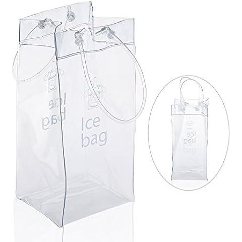 Pixnor Artículo vino de PVC transparente bolsa hielo refrigerador bolsa con manija
