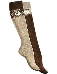 Lot de 2 paires de chaussettes montantes, chaud. Chaussettes de laine pour femme. Avec motif de flocon de neige. Origine de VCA®