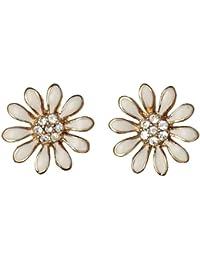 Pilgrim Jewelry Damen-Ohrstecker Blume vergoldet weiss 1.2 cm 171312003