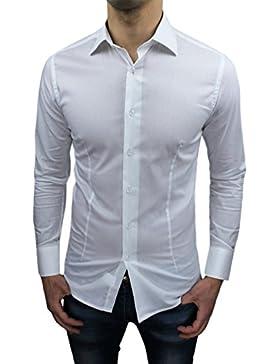 Camicia uomo sartoriale bianca slim fit aderente nuova casual elegante
