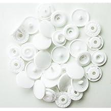 Conjuntos de 100–tamaño 20(1/2)–Kam plástico/resina broches de presión para los pañales/baberos/paño/Pul (color blanco)