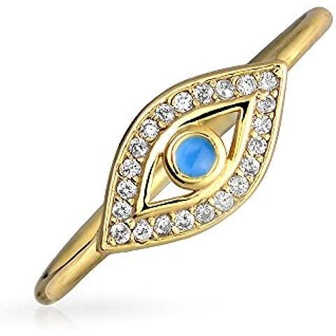 Bling Jewelry Chapado en Oro CZ esmalte azul Apilable mal de ojo Anillo Plata 925