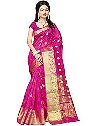 Trendzvila Women's Banarasi Silk Saree With Blouse Piece (TR-1129-C_Rani Pink)