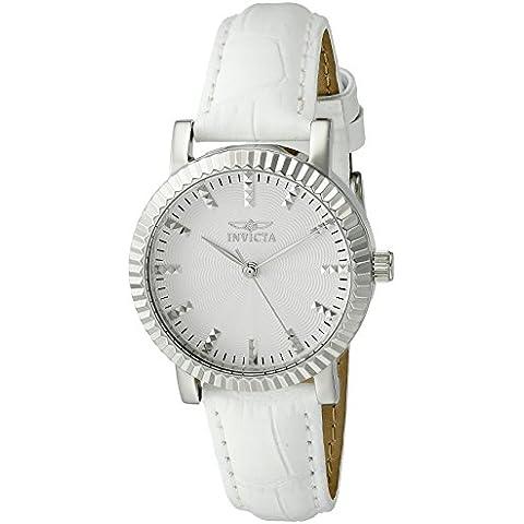 Invicta Angel Damen-Guarda 33 mm Bracciale in pelle caso bianco quarzo in acciaio inox quadrante argento 22482