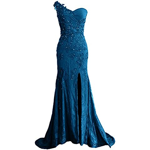 MACloth Women Mermaid One Shoulder Lace Long Formal Evening Dress Ball Gown (EU34, Teal)