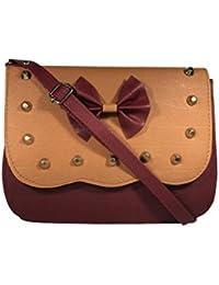 Bizarre Vogue Stylish Partywear SlingBags Cum Handbags For Women & Girls (Adjustable Strap, Orange & Maroon)