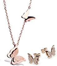 YouBella Stylish Latest Design Butterfly Necklace Jewellery Set And Earrings Gold Plated Jewellery Set for Wom