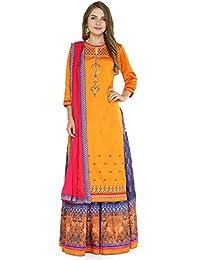 e52544a9da Kvsfab Women's Taffeta Silk Semi Stitched Dress Material  (Kvssk2603Mastani)[KVSSK2603MASTANI]