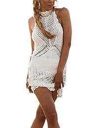 L-Peach Crochet Vestido de Punto Pareo Bikini Cover Up Beachwear para Mujer 2222f7fa6fd