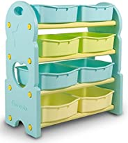 HomeCanvas GL7245B-BLUE Canvas Children Deluxe Multi-Bin Toy Organizer with Storage Bins, Toy Boxes and Storag