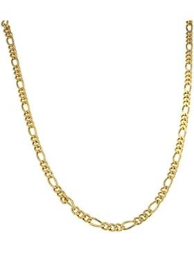 Figarokette 925 Silber vergoldet 4,5mm Länge wählbar, Halskette Goldkette Herren-Kette Damen Geschenk Schmuck...