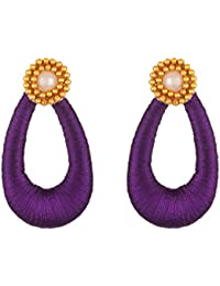 AKSHAYASRI Purple & Golden Silk Thread Hoop Earrings For Women (AS 088)