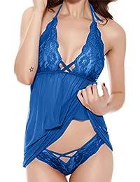 7e1d0dab95 2 Piezas Conjunto de Lencería Pijama Semi Transparente de Verano sin Mangas  Picardías Atractivas Floral…