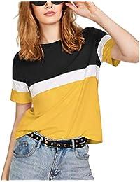 FreshTrend White Yellow Black Cotton Round Neck Tshirt for Women (White Yellow Black)