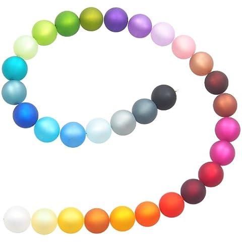 31Perle in 31colori veri original Polaris perline 7misure a scelta 6, 8, 10, 12, 14, 16e 18mm, Mix di perline, mix per creare è costituito da nei colori: bianco, crema, giallo, marrone chiaro, zafferano, arancione chiaro, arancione, bordeaux, rosso, Rosa, lampone, caffè, Marrone Scuro, cacao, rosa, lilla, viola, melanzana, verde oliva, verde fosforescente, menta, petrolio, Blu colomba, Blu scuro, turchese, blu oltremare, azzurro, grigio chiaro, grigio scuro e nero, perline miscela, Set, perline di produzione tedesca, 31 Farben, 18 mm