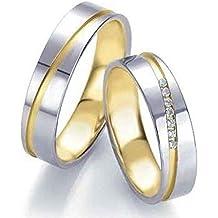 Anillos de boda, anillos de compromiso, alianzas, de titanio con diamante y circonita, grabado