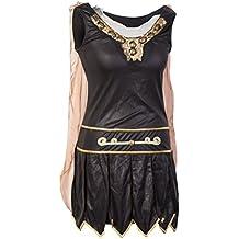 Traje de fantasía guerrero por de Emma's Wardrobe - incluye vestido de gladiador con capa adjunta, guanteletes de brazo y la venda para la cabeza - Traje de gladiador o de soldado romano para Halloween - Tamaños 38