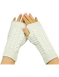 Amonfineshop(TM) Fashion Strick Arm Fingerwinterhandschuhe Unisex weiche warme Fausthandschuh (weiß)