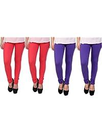 Anekaant Cotton Lycra Women's Legging Pack of 4 (2, Tomato & 2, Purple)