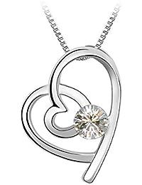 Le Premium® 'Love in Love' Anhänger Halskette mit runden Kristallen von Swarovski-Kristallklar