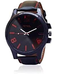 Petrol Black Leather Analog Watch - For Men