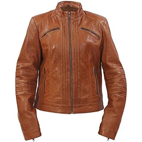 Las señoras el 100 % de la chaqueta de cuero collar Tan Marron plisado Brando motorista del estilo chino