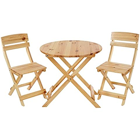 Tavolo rotondo con 2x sedie Olbia II ideale per giardino