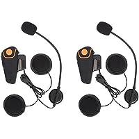 Excelvan 2×Auriculares Intercomunicador Bluetooth para Casco de Motocicleta Moto Intercom Headset 1000M Radio FM Intercomunicación Entre 3 Motociclistas