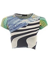 Ladies Women's Leopard Rose Wave Cap Sleeve Crop Top Midi Pencil Skirt 8-14 [Blue Wave Top S/M]