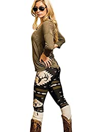 Tongshi Moda Mujer Skinny Impreso Stretchy Pantalones Leggings (Negro, S)