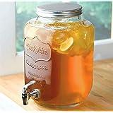 Raincart Glass Transparent Mason Jar Beverage Dispenser, Glass Air Tight, Liquor Dispenser Beer Dispenser, Cold Water Pitcher,4 Liter - 1 Piece With Free 2 PCS Mason JAR