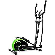 Klarfit ELLIFIT BASIC 10 bicicleta elíptica (para un peso corporal máximo de 100 kg, 22 kg de peso, con pulsómetro, zancas antideslizantes, pantalla LCD) - negro verde