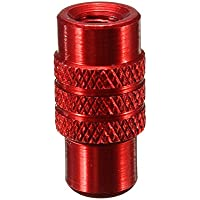 SODIAL(R) 4x Tapon de valvula Presta de neumatico rueda de bicicleta de aluminio Cubierta de polvo anodizado frances-Rojo