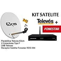 KIT FONESTAR RECEPTOR SATELITE RDS-584WHD+ KIT PARABOLICA TELEVES 63cm Y CONECTORES