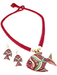 More Bangla Women's Puja Bahaar Terracotta Jewellary Set-Maroon