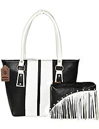 AYASA Women's Pu Leather Handbag And Sling Bag Combo (Black And White)